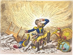 """Maniac-raving's-or-Little Boney in a strong fit"" by James Gillray. His caricatures ridiculing Napoleon greatly annoyed the Frenchman, who wanted them suppressed by the British government.[57]"