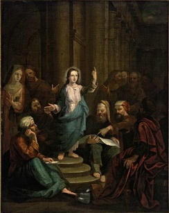 "Painting of Christ among the Doctors, catalogued by Christie's as ""Manner of Rembrandt Harmensz van Rijn"" and sold for £750 in 2010"