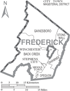 Map of Winchester, Virginia, and the surrounding Frederick County (Winchester is independent of the county but is the county seat).