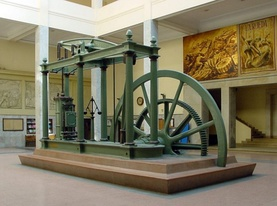 The steam engine, the major driver in the Industrial Revolution, underscores the importance of engineering in modern history. This beam engine is on display in the Technical University of Madrid.