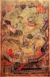 Depiction of a medieval hunting park from a 15th-century manuscript