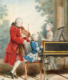 Wolfgang Amadeus Mozart (seated at the keyboard)