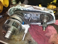 Inside of a 231 New Process Gear transfer case.  Part-time/Manual, shift on the fly