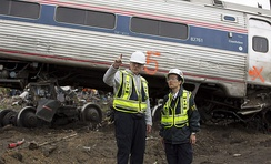 NTSB investigators on-scene at the 2015 Philadelphia train derailment