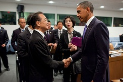 Obama meets with Wen Jiabao and members of the Chinese delegation after a bilateral meeting at the United Nations in New York City.