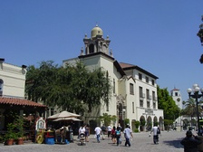 Entrance to Olvera Street (left), Los Angeles.