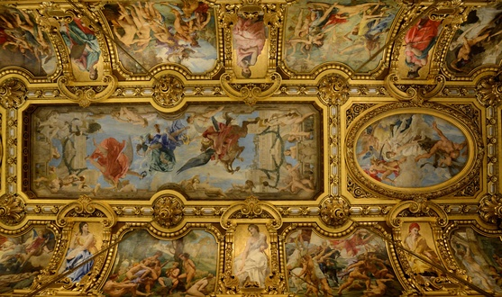 Part of the ceiling of the Grand Foyer with paintings by Paul Baudry: the central rectangular panel is Music, while the oval panel at the western end is Comedy.