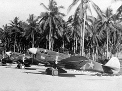 "By mid-1943, the USAAF was superseding the P-40F (pictured); the two nearest aircraft, ""White 116"" and ""White 111"" were flown by the aces 1Lt Henry E. Matson and 1Lt Jack Bade, 44th FS, at the time part of AirSols, on Guadalcanal."