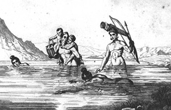 The people of the St. Johns culture, such as these Timucuans pictured in 1562 by Jacques Le Moyne, obtained much of their food from the water.