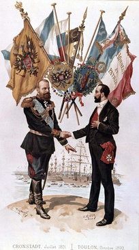 Alexander III and French President Marie François Sadi Carnot forge an alliance