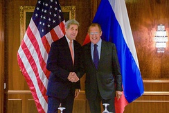 Secretary of State John Kerry with Russian Foreign Minister Sergey Lavrov, before a bilateral meeting focused on Syria, 2015