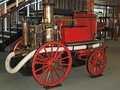 British horse-drawn fire engine with steam-powered water pump