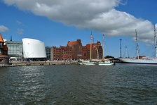 Old Port with Ozeaneum, warehouses and historical ships including the Gorch Fock