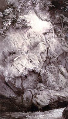 John Ruskin's Study of Gneiss Rock, Glenfinlas, 1853. Pen and ink and wash with Chinese ink on paper, Ashmolean Museum, Oxford, England.