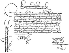 Summons for Luther to appear at the Diet of Worms, signed by Charles V. The text on the left was on the reverse side.