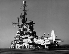 A tailhook-equipped T-28C after trapping aboard USS Tarawa (CVA-40), in 1955