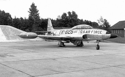 Lockheed F/RF-80C-10-LO Shooting Star, 49-1825, of the 366th Tactical Reconnaissance Wing, shown at Sembach Air Base, West Germany after the wing's departure to NATO in 1953.
