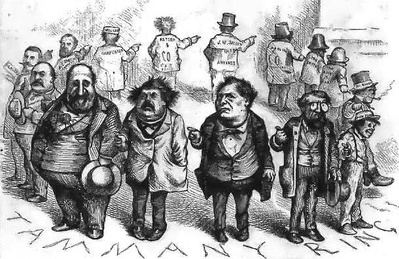 "Nast depicts the Tweed Ring: ""Who stole the people's money?"" / ""'Twas him."" From left to right: William Tweed, Peter B. Sweeny, Richard B. Connolly, and Oakey Hall. To the left of Tweed in the background are James H. Ingersoll and Andrew Garvey, city contractors involved with much of the city construction."