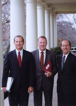 """The Troika"" (from left to right) Chief of Staff James Baker, Counselor to the President Ed Meese, Deputy Chief of Staff Michael Deaver at the White House, December 2, 1981"