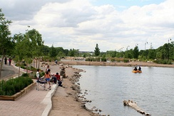 Tingley Beach in Old Town, Albuquerque, a pond in a former watercourse by the Rio Grande
