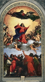 The Assumption, by Titian (1516–18). The figures of God, the Virgin Mary and two apostles are highlighted by their vermilion red costumes.