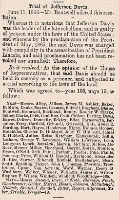 House of Representatives vote for a trial of Jefferson Davis, June 11, 1866