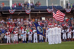 US Navy parades the colors during opening ceremonies for the 2011 All-Star Game