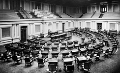 U.S. Senate chamber c. 1873: two or three spittoons are visible by desks