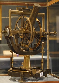 A theodolite of 1851, showing the open construction, and the altitude and azimuth scales which are read directly