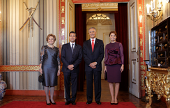 Mexican President Enrique Peña Nieto on a state visit to Portugal meeting with Portuguese President Aníbal Cavaco Silva; 2014.