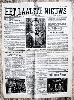 "VFront page of Flemish newspaper ""Het Laatste Nieuws"" of September 5 1944. With headline: Long live Belgium !, Long live The King !, Long live Freedom! in honor of the liberation of Belgium."