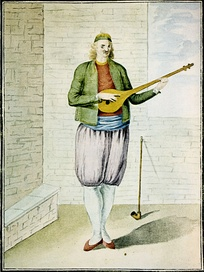 A Greek of the 18th century playing tambouras.