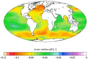 Change in sea surface pH caused by anthropogenic CO2 between the 1700s and the 1990s. This ocean acidification will still be a major problem unless atmospheric CO2 is reduced.