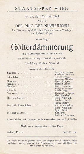 Play bill of the last performance in the old building: Götterdämmerung, 30 June 1944