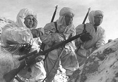 Vasily Zaytsev, left, and Soviet snipers equipped with Mosin–Nagant M1891/30 during the Battle of Stalingrad in December 1942.