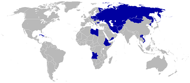 Countries boycotting the 1984 Games are shaded blue