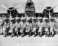 Squadron members and a B-18 Bolo of the 21st Reconnaissance Squadron at Miami Municipal Airport, Florida, 1941