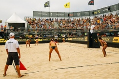 A women's match at the 2017 Hermosa Beach Open, one of the tournaments in the AVP tour.