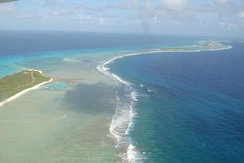 View of the coast of Bikini Atoll from above