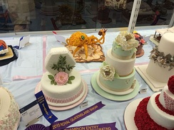 Cake icing with traditional and novelty designs in the Fine Arts competition, 2015