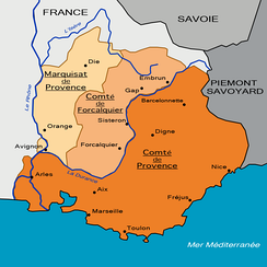 Division of Provence obtained by Alfonso Jordan in 1125