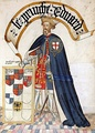 Edward, the Black Prince, wearing a surcoat emblazoned with the Royal Arms of England