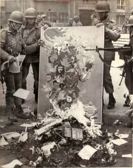 Book burning in Chile following the 1973 coup that installed the Pinochet regime.