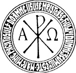 "The Chi Rho circled with the Prayer: ""Lord Jesus Christ, Son of God, have mercy on me""."