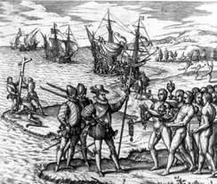 Christopher Columbus landing on Hispaniola in 1492.