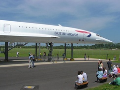 British Airways Concorde at Filton Aerodrome, Bristol, England shows the slender fuselage necessary for supersonic flight