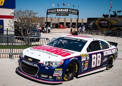 Chevrolet SS NASCAR Sprint Cup Series car, driven by Dale Earnhardt Jr. at Texas Motor Speedway during the 2013 NRA 500.