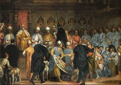 Fresco in the Doge's Palace, depicting Doge Marino Grimani receiving the Persian Ambassadors, 1599