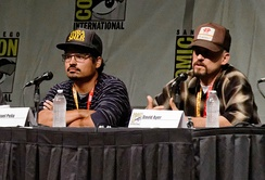 Michael Peña (left) and David Ayer promoting the film at the 2012 San Diego Comic-Con International