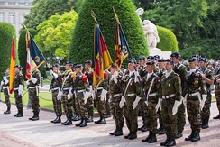 Personnel of the European Corps in Strasbourg, France, during a change of command ceremony in 2013